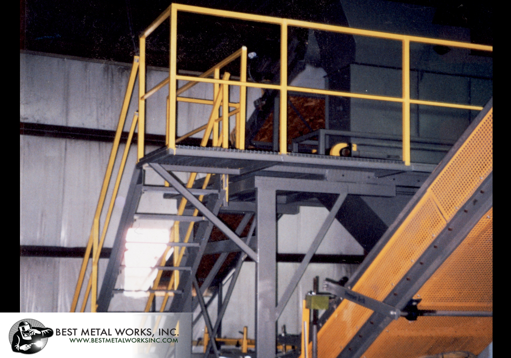 Custom fabrication of stairs&#44 platforms&#44 walkways&#44 and railings for Premier Tech Automatic Bagger 3