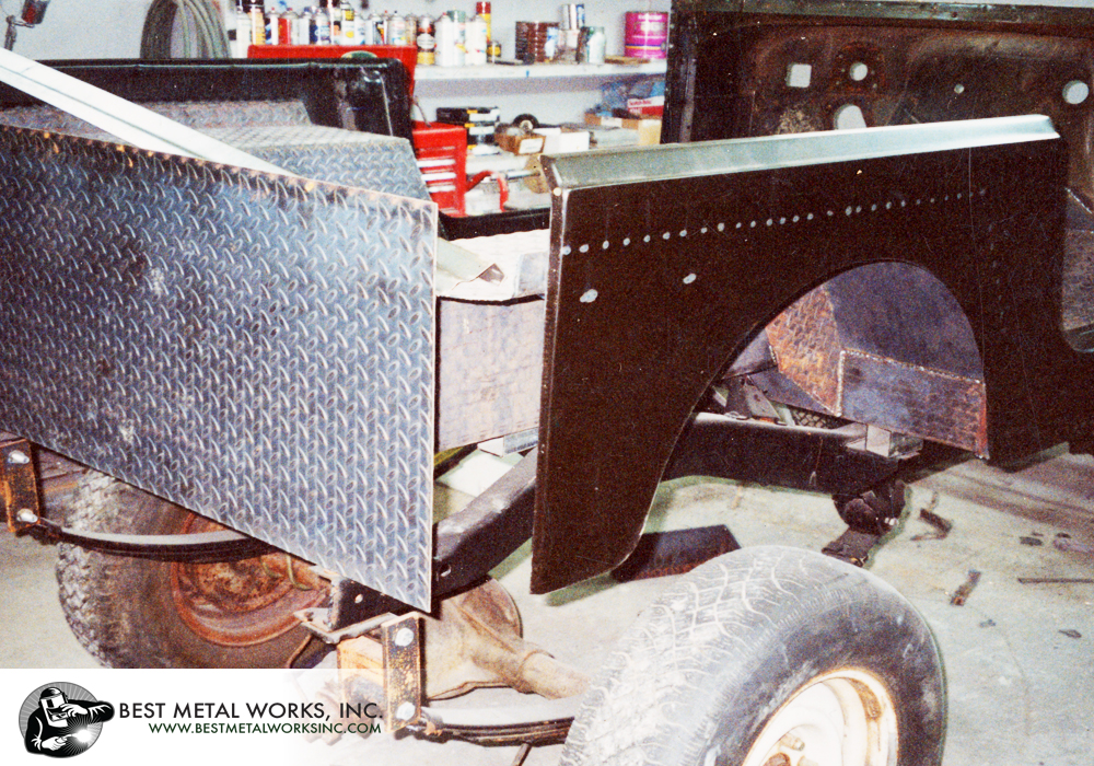 Jeep built with a firewall and front cowl cut off of an old body, with floors of 1/8